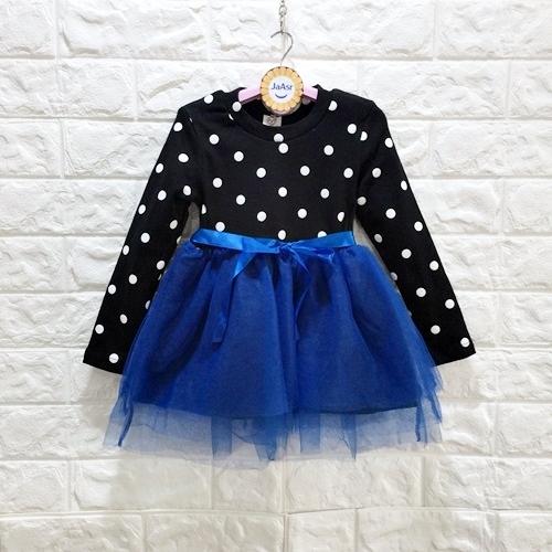 ☆棒棒糖童裝☆(S33677)秋冬女童點點蝴蝶結紗裙洋裝   90-150