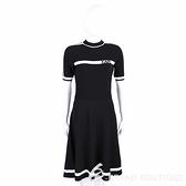 KARL LAGERFELD 卡爾 老佛爺 羅紋細節黑色腰身針織連身裙 洋裝 2040432-01