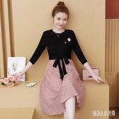 秋冬裝新款大碼女裝韓版修身洋裝拼接蕾絲氣質優雅連身裙女潮 yu7089『俏美人大尺碼』