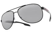 PRADA 偏光太陽眼鏡SPS53P 1AB-2F2 (黑-淺白水銀漸層灰鏡片) 率性飛行款 # 金橘眼鏡