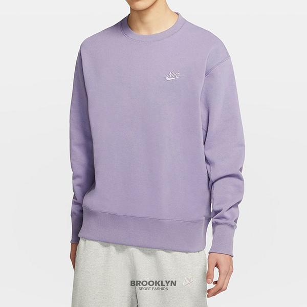 NIKE 大學T M NSW SB CREW 紫 刺繡 落肩 長袖 男女 (布魯克林) DA0022-588