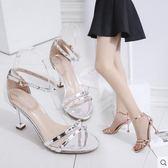 2019夏季新款高跟細跟腳腕綁帶鉚釘性感女涼鞋包跟女鞋細帶羅馬鞋 漾美眉韓衣