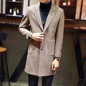 毛呢大衣-中長版純色單排扣大口袋修身羊毛男外套4色73qc2[巴黎精品]
