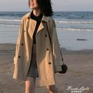 設計感風衣女中長款小個子學生英倫風外套2020新款秋季流行女裝潮 果果輕時尚