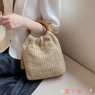 編織包ins超火的小包包女2021新款潮時尚編織手提包夏季洋氣百搭草編包 愛丫