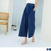 《BA5523-》高含棉造型褲頭腰鬆緊修身寬褲 OB嚴選