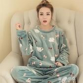 睡衣韓版珊瑚絨睡衣女式可愛卡通休閒套頭法蘭絨長袖套裝家居服 蓓娜衣都