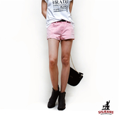 SISJEANS-隨性刷破色染牛仔短褲(淺粉紅)【SISWCB002】