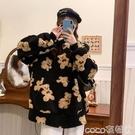 熱賣羊羔毛上衣 秋冬韓版2021新款寬鬆卡通小熊中長款仿羊羔毛長袖連帽衛衣上衣女 coco