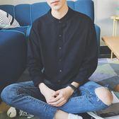 長袖襯衫襯衫長袖男韓版潮流黑色立領帥氣襯衣ins港風休閒男士寸衫潮外套 非凡小鋪