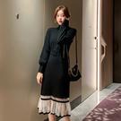 連身裙.氣質網紗假兩件魚尾長袖針織洋裝.白鳥麗子