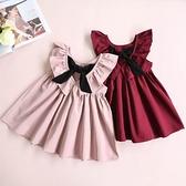 歐美風夏裝童裝新款寶寶兒童女童蝴蝶結百褶露背裙子洋裝荷葉邊 幸福第一站