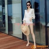 法式泳衣女連體仙女范時尚顯瘦長袖性感白色游泳衣泡溫泉大碼泳裝品牌【小桃子】