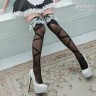 透膚絲襪 大交叉繃帶顯瘦修飾大腿襪 黑色薄絲襪 長統襪- 愛衣朵拉