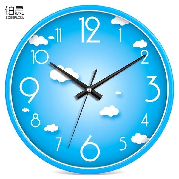 鉑晨靜音掛鐘客廳個性鐘錶現代簡約鐘家用石英鐘圓形時鐘創意掛錶  【夏日新品】