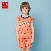 JJLKIDS 男童 休閒渡假滿版椰子樹無袖短褲套裝(橙色)