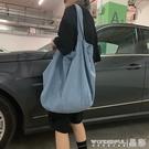 牛仔包 側背包女韓版ins網紅同款復古簡約百搭大容量休閒牛仔斜背包背包 晶彩 99免運