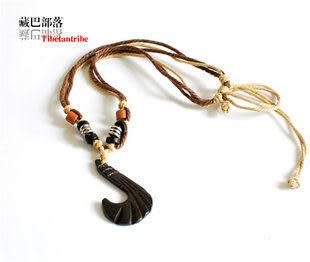 藏族風情 犛牛骨墜繩編項鏈