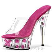 透明細跟水晶鞋 新娘婚鞋 15cm/厘米性感超高跟鞋 夜店恨天高涼鞋 晴光小語