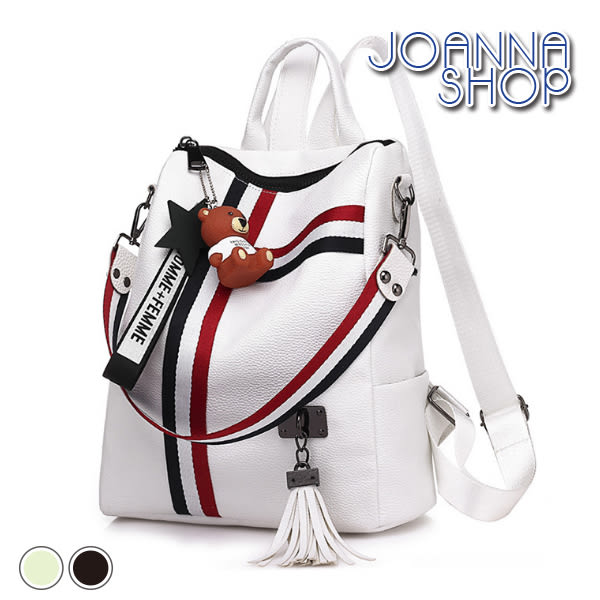 後背包 兩個冬天紅白黑撞色後背包-Joanna Shop