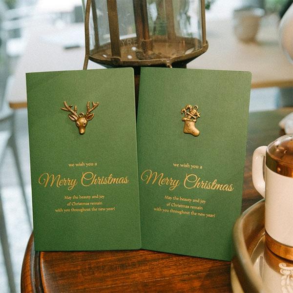【BlueCat】聖誕節復古金屬小鹿雪花燙金綠色卡片信封