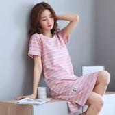 女士睡衣 夏季韓版睡裙女士純棉短袖加大碼背心睡衣夏天無袖家居服