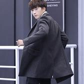 風衣 秋冬季新款呢子大衣韓版時尚加絨毛呢外套男士風衣中長款男裝加厚 非凡小鋪