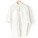 【MASTINA】五分寬袖排扣上衣-白 好康優惠