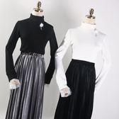 新款時尚韓版淑女氣質百搭拼接網紗釘珠半高領針織上衣女