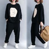 套裝【K261】FEELNET中大尺碼女裝2018秋裝韓版圓領寬鬆休閒純棉兩件套套裝 均碼