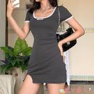 短袖洋裝 高級霧霾灰修身短袖連身裙女 心機后背鏤空裙子 愛丫 免運