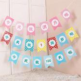 兒童生日派對裝飾三角拉旗寶寶周歲佈置掛飾拉旗子卡通拉條橫幅  英賽爾3C