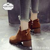秋冬中跟小碼馬丁靴女313233短靴圓頭磨砂粗跟女靴子復古擦色靴 漾美眉韓衣