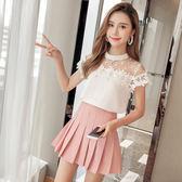 2018夏季新款韓版網紗波點植絨縷空蕾絲拼接雪紡襯衫上衣女潮 LI2233『時尚玩家』