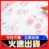 [24H 現貨快出] 粉色 耳環 組合 s925 純銀 耳鉤 幾何 桃花 珍珠 翅膀 耳飾 毛球 長款耳墜