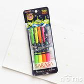 【日貨Sarasa原子筆 玩具總動員塗鴉系列 四入套組】Norns 日本進口 Disney正版授權迪士尼 文具
