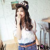 襯衫-Tirlo-公主袖格紋襯衫 2色