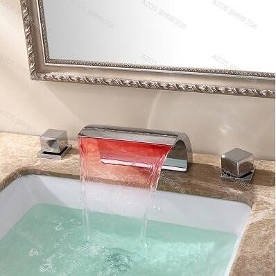 雙把美式瀑布面盆水龍頭衛生間浴室雙把洗臉臺盆分體龍頭冷熱全銅(大美式三件套)