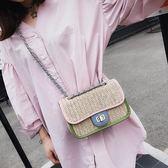 清倉小包包女時尚編織小方包正韓鏈條單肩斜背包側背包