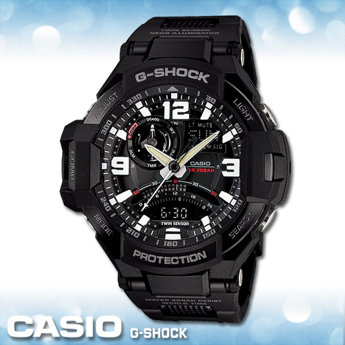 CASIO 卡西歐手錶專賣店 GA-1000FC 男錶GA-1000FC-1A  雙顯 橡膠錶帶 黑 飛行錶款 數位羅盤 溫度  防水