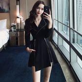夜場連衣裙女2018新款性感顯瘦時尚氣質長袖酒吧女裝夜店裙子秋裝 米蘭世家