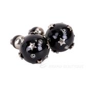 DIOR TRIBALE 小款 復古鍍金星型穿針式珍珠耳環(黑色) 1840357-01