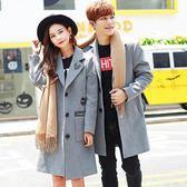 情侶風衣外套中長款韓版呢子大衣秋冬季裝韓國一男一女毛呢外套