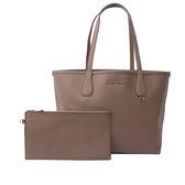 【MICHAEL KORS】防刮皮革拼色購物包/子母包(煤灰/白色)35F7SY2T3T CINDE