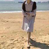 【狐狸跑跑】春季韓國推薦中長款襯衫裙翻領豎條紋開衫襯衣女C33179