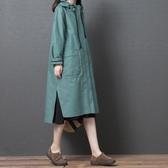 外套 中長款風衣女2020新款春秋季薄款大碼拉鏈開衫休閒大口袋連帽外套