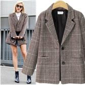 滿千免運~大碼女裝外套~新款亞馬遜寬松歐美復古格子休閑西裝外套MD043衣時尚