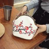 小包包女2018夏新款民族風刺繡花朵單肩包