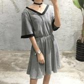 洋裝-綁帶V領寬鬆鬆緊腰時尚女連身裙73hd71【時尚巴黎】