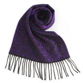 GINZA U新款時尚豹紋風織紋100%羊毛圍巾(紫色) 359999-53
